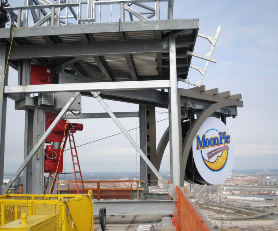Customized Moon Pie drop for RSA Bank Trust Building in Mobile, Alabama manufactured by Material Handling Systems, Inc. (MHS CRANE)