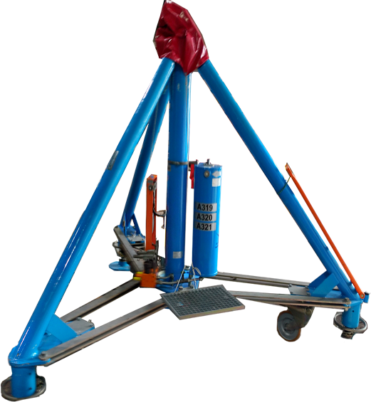 patented hydraulic jet jacks manufactured by Material Handling Systems, Inc (MHS CRANE)