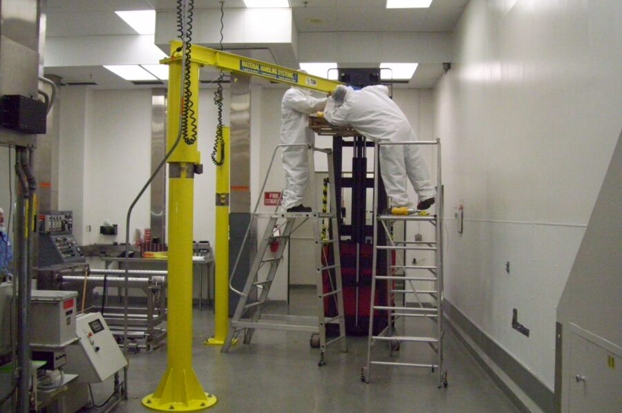 Specialized jib crane manufactured by Material Handling Systems, Inc. (MHS CRANE)