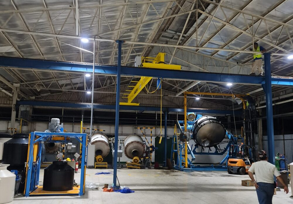 Overhead crane, festoon system, runways and support beams manufactured by Material Handling Systems, Inc. (MHS CRANE)