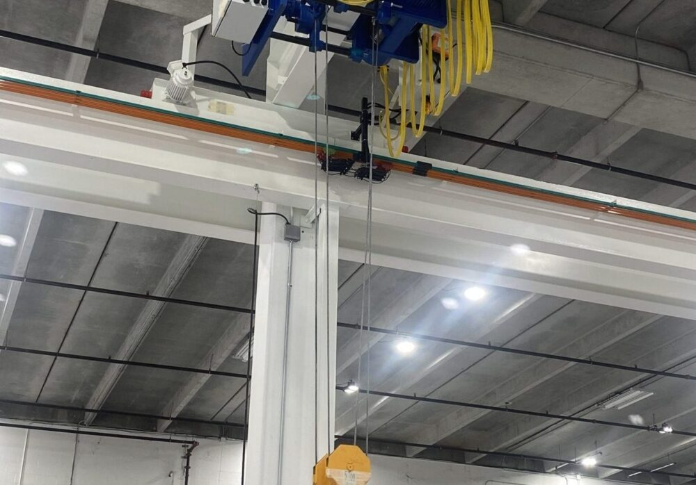 5 Ton wire rope hoist, runway beam and festoon system manufactured by Material Handling Systems, Inc. (MHS CRANE)