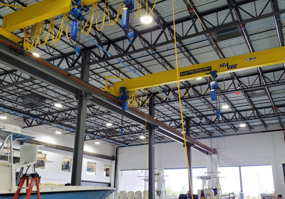 Overhead bridge crane by Material Handling Systems, Inc. (MHS CRANE) for boat manufacturer SeaVee Boats